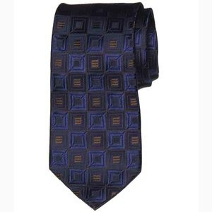 Michael Kors Tie Silk Blue Brown Geometric Men 's